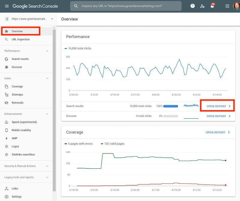 "In Search Console, click ""Overview,"" which produces a report called ""Performance."""