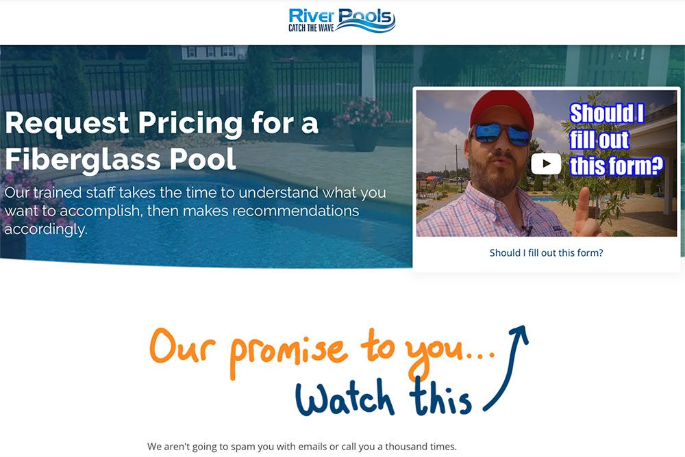 River Pools contact page that includes video
