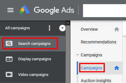 "Make sure you have Search campaigns running on manual or enhanced CPC. Then, navigate to those campaigns by clicking on ""Search campaigns"" in the upper left."