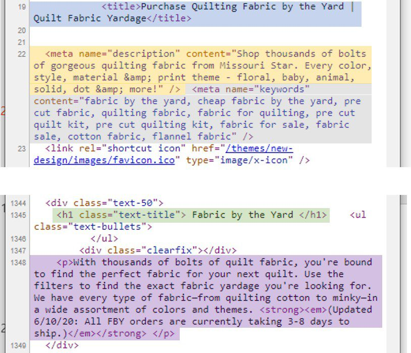 "Important SEO elements in code include the title tag (""Purchase Quilting Fabric…""), the meta description (""Shop thousands of bolts…""), meta keywords (""fabric by the yard, cheap fabric by the yard…""), an H1 heading (""Fabric by the Yard""), and body copy (""With thousands of bolts..."")."