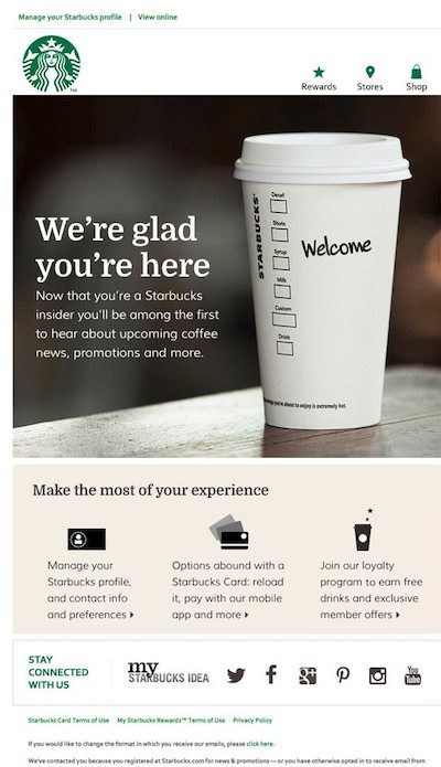 """Welcome email from Starbucks to new """"insider"""" members."""