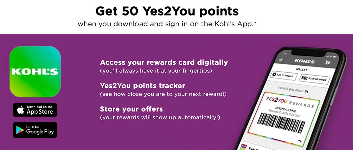 Kohl's Yes2You page, explaining how you can get 50 points for downloading the mobile app.