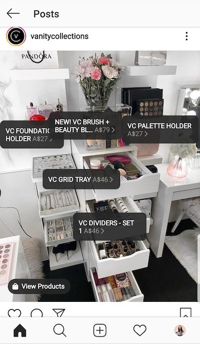 ecommerce Vanity Collections tagged five items for sale.