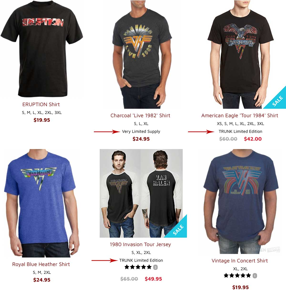 Category page of t-shirts. Under some are words telling shoppers available sizes, limited inventory and exclusives.