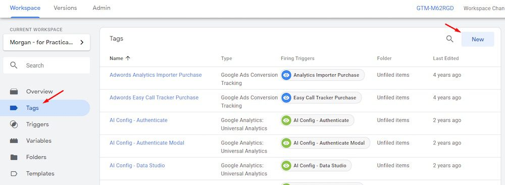 """Create the new tag in Google Tag Manager at Tags > New."""" width=""""1000″ height=""""366″ srcset=""""https://566763.smushcdn.com/754212/wp-content/uploads/2020/08/Google-Tag-Manager-4.jpg?lossy=1&strip=1&webp=1 1000w, https://566763.smushcdn.com/754212/wp-content/uploads/2020/08/Google-Tag-Manager-4-300×110.jpg?lossy=1&strip=1&webp=1 300w, https://566763.smushcdn.com/754212/wp-content/uploads/2020/08/Google-Tag-Manager-4-570×209.jpg?lossy=1&strip=1&webp=1 570w, https://566763.smushcdn.com/754212/wp-content/uploads/2020/08/Google-Tag-Manager-4-768×281.jpg?lossy=1&strip=1&webp=1 768w, https://566763.smushcdn.com/754212/wp-content/uploads/2020/08/Google-Tag-Manager-4-150×55.jpg?lossy=1&strip=1&webp=1 150w, https://566763.smushcdn.com/754212/wp-content/uploads/2020/08/Google-Tag-Manager-4-500×183.jpg?lossy=1&strip=1&webp=1 500w"""" sizes=""""(max-width: 1000px) 100vw, 1000px""""></a></p> <p id="""