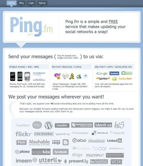 The Ping.fm homepage