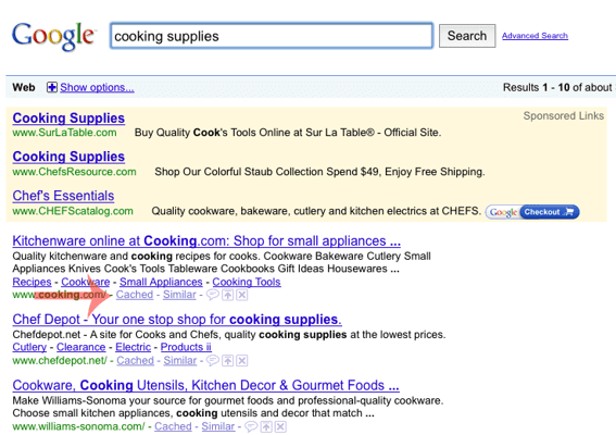 """Screen capture of Google search results for """"cooking supplies,"""" highlighting a """"Cached"""" link in the results."""