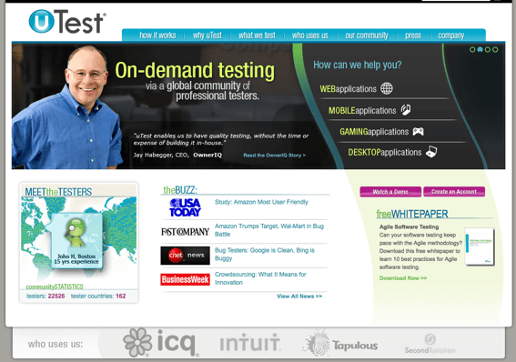 uTest home page.