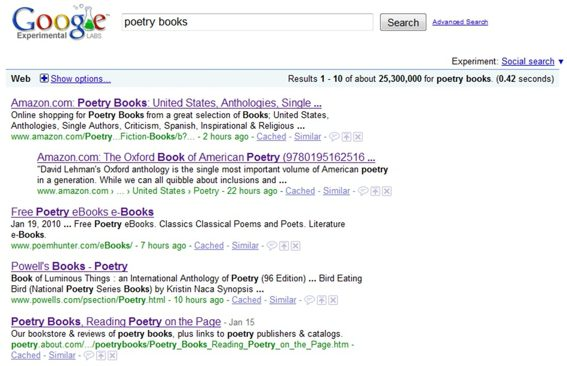 "Screenshot of Google search results for ""poetry books."""