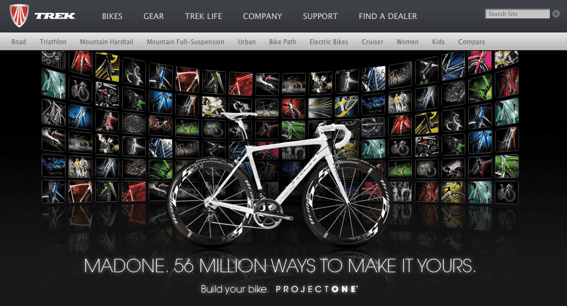 Partial screen capture of Trekbikes.com home page from laptop browser.