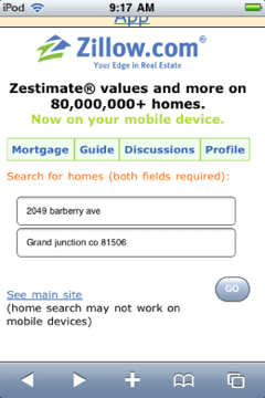 Zillow home page on mobile-optimized site.