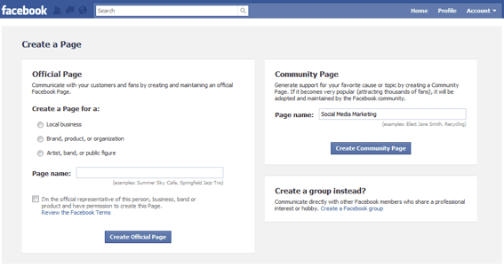 Screenshot of Facebook's Create a Page.