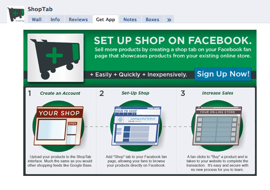 Screenshot of ShopTab's integration with Facebook.