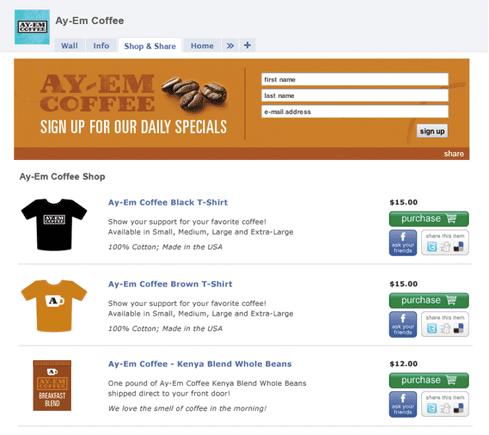Screenshot of Ay-Em Coffee on Shop & Share app by Shoutlet.