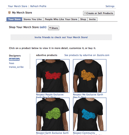 Screenshot of a My Merch Store powered by Zazzle.