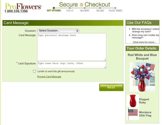 """ProFlowers checkout page showing shopping cart contents (""""Your Order Details"""") on the right."""