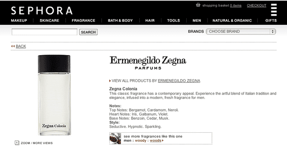 "Example of an irrelevant landing page from Sephora. The page shows a Zegna fragrance, but the search term was ""Zegna shirts."""