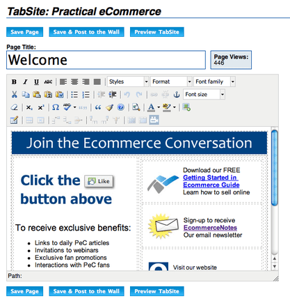 Practical eCommerce's 'Welcome' message on TabSite.