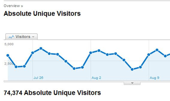 Detail of Google Analytics showing an overview of absolute unique visitors.