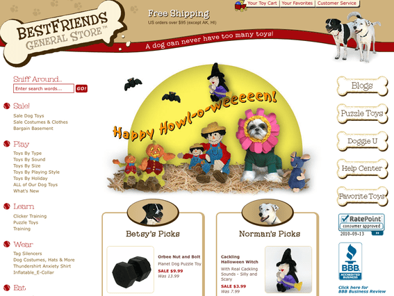 Best Friends General Store home page.