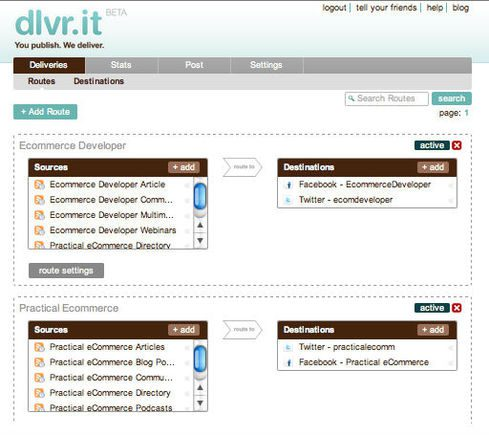 Screenshot of dlvr.it, a content syndication tool.