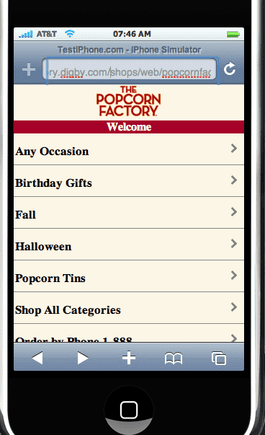 ThePopcornFactory.com home page, mobile version on an iPhone.