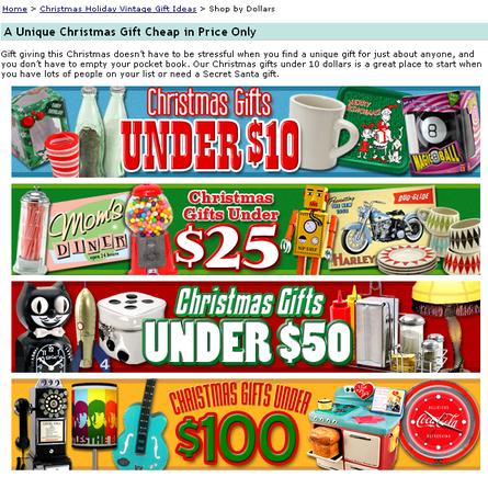 An example of specially priced holiday gifts.