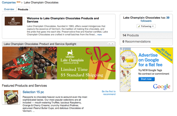 Lake Champlain Chocolates' Company Page, for LinkedIn users.