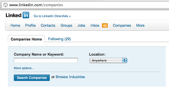 LinkedIn companies search page, for LinkedIn users.