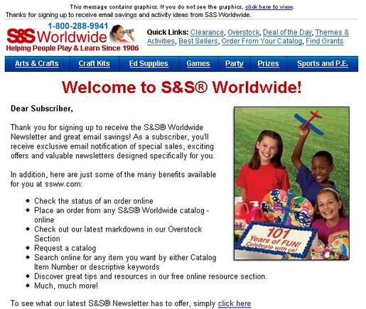 Sample 'Welcome' email from S&S Worldwide.
