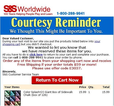 Sample 'abandoned cart' email from S&S Worldwide.