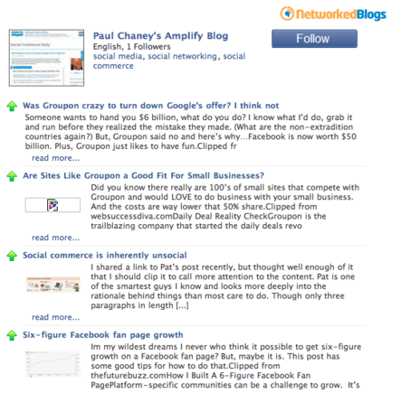 Example of Networked Blogs app.