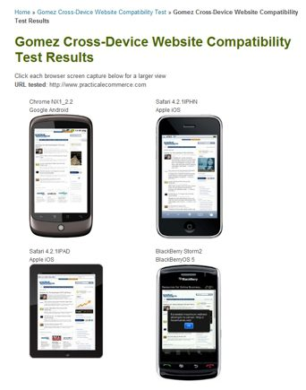 Gomez.com cross-device browser test results.