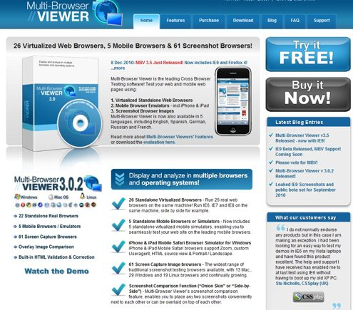 Multi-Browser Viewer home page.