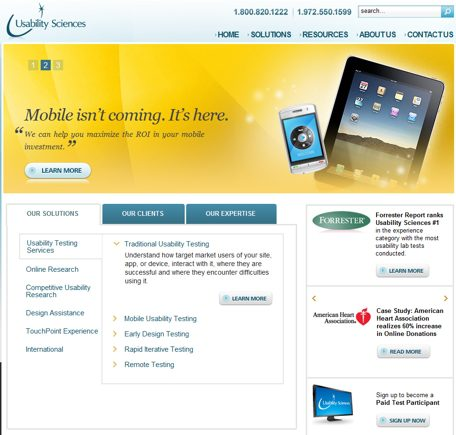 Usability Sciences home page.