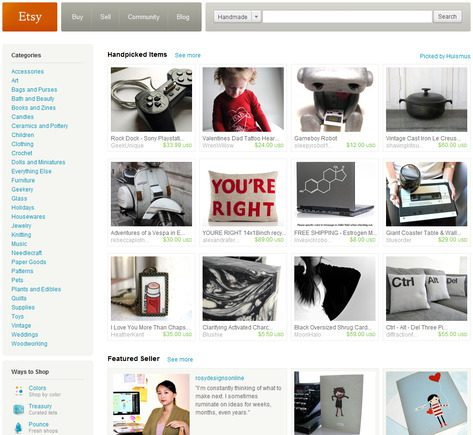 Etsy.com home page.