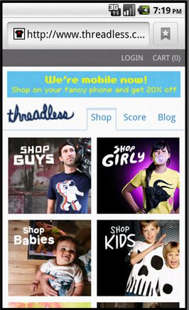 Threadless home page on a smart phone.