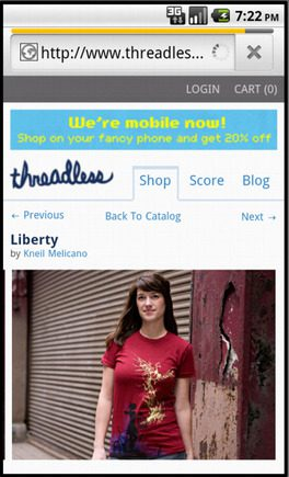 Threadless product page on a smart phone.