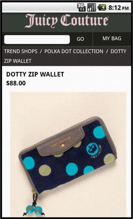 Juicy Couture product page on a smart phone.