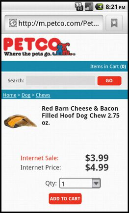 Petco product page on a smart phone.