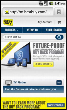 Best Buy home page on a smart phone.