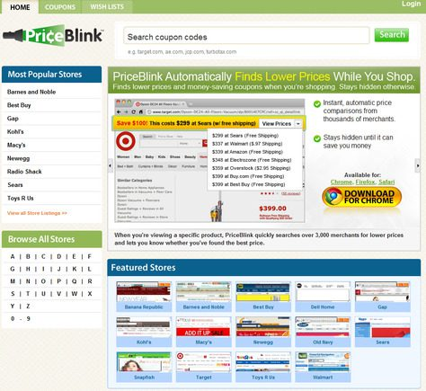 PriceBlink home page.
