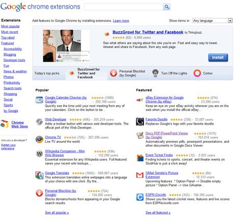 Chrome Extensions home page.