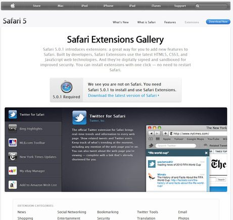 Safari Extensions home page.
