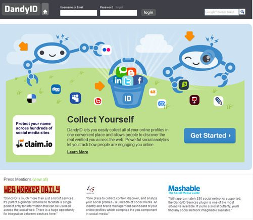 DandyID home page.