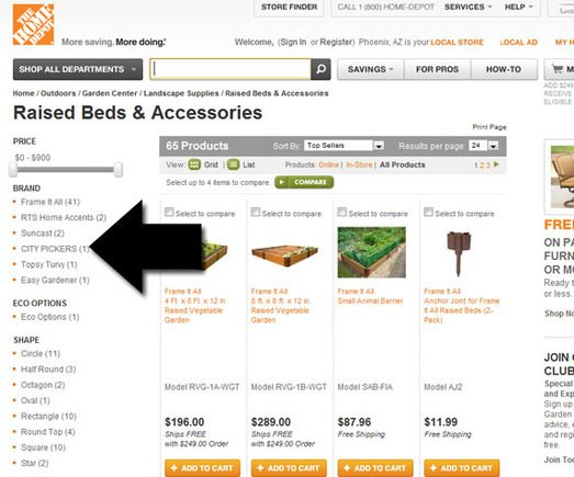 Home Depot gives online shoppers a way to filter category pages.