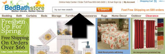 BedBath Store puts its search bar in the center of the header where it is easy to find.