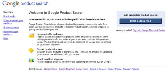 Google Product Search login.