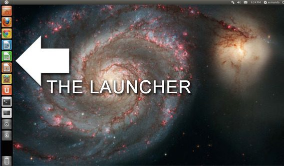 Ubuntu 11.04's Unity desktop includes a full-featured task bar called 'The launcher.'