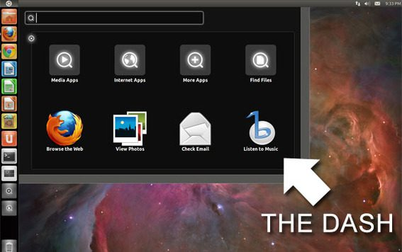 Ubuntu's dash provides easy access to applications and an excellent search.